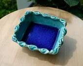 Aqua Spiral Print Dish