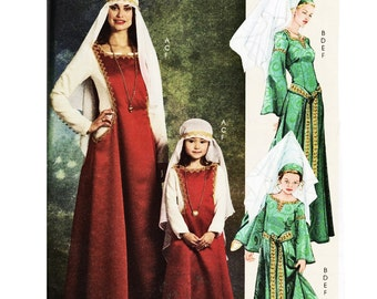 McCalls 5499 Medieval Renissance Long Dress Costume Child Kid Sizes 3  4  5  6  7  8