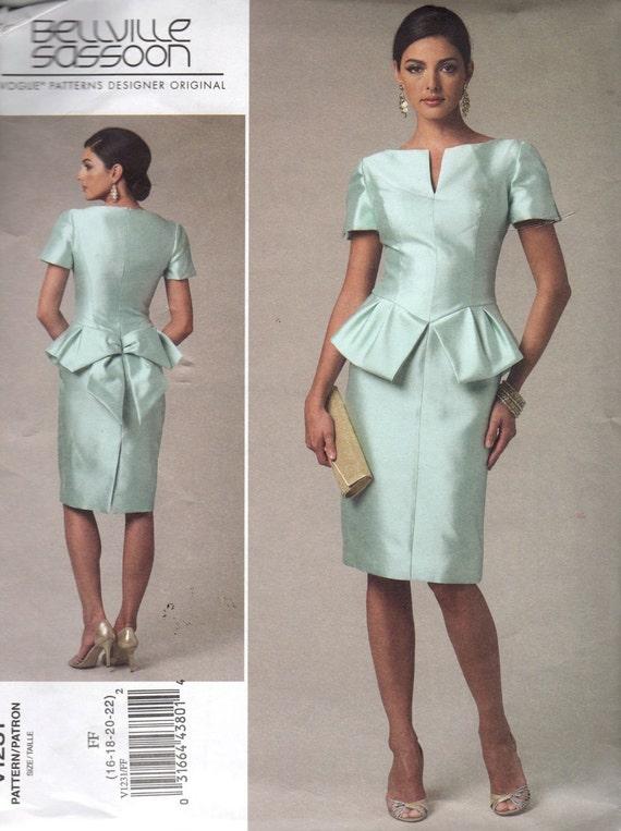 Vogue V1231 Belleville Sassoon Designer Dress Pattern Sizes 16 to 22