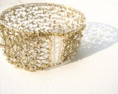 Gold plated knitted wire cuff bracelet with crystal clear lined gold czech beads