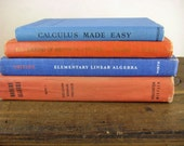 Vintage Orange and Blue School Book Collection - Math Lesson Books Arithmetic Algebra & Calculus