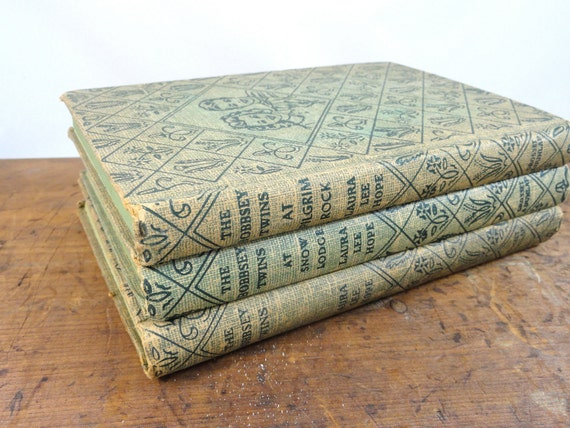 Vintage Shabby Chic Book Collection - 3 Blue Green Tan Childrens Bobbsey Twin Mystery Books