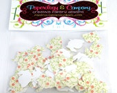 Bunny Cottage Collection Punchies, Whimsical Hand Punched Bunnies, 60 Pieces