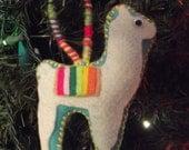 Llama alpaca felt ornament made to order