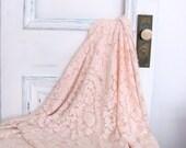 Antique Crochet Lace Tablecloth Coverlet Pale Pink