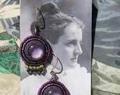 Purple and Green Beaded Earrings