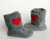 RESERVED Baby Booties. Boots. I Love You. Polar Fleece Soft Soled Boots. Smoke Gray. Red. Heart. Warm. Cozy. Winter Fashion.