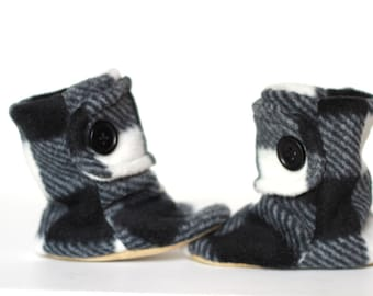 Black and White Plaid Leather Soled Polar Fleece Baby Booties.