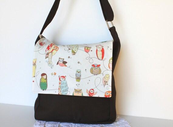 Back To School Woodland Owl Messenger Bag. Children Fashion. Kids Tote Bag. Boy. Girl. Toy Case. Girls Purse. Handbag.