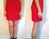 Vintage S-M Red High Waisted Pencil Skirt with Pockets