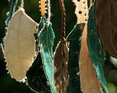 Dreamcatcher with Embroidered Feathers - Green, Gold, and Brown