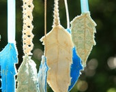 Dreamcatcher with Embroidered Feathers - Turquoise, White, and Mint