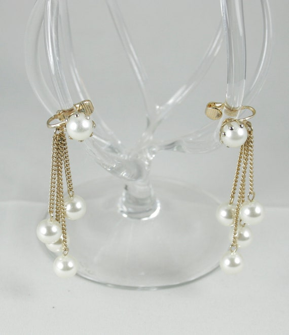 SALE Vintage Pair of Pearl Drop Earrings - Four Chains and Five Pearls - Clip Ons - Circa 1960's. 40% OFF
