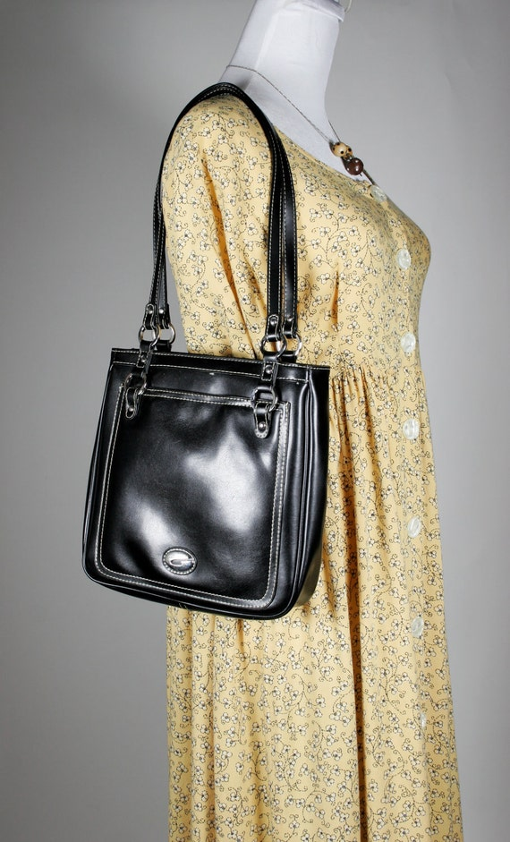 SALE 33% OFF Vintage Guess Small Handbag in Black with White Stitching and Double Handles circa 1980s - Appears Unused.