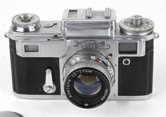 Vintage Kiev 35 mm Camera - Russian Copy of Pre-War Contax circa 1950s. Made in USSR