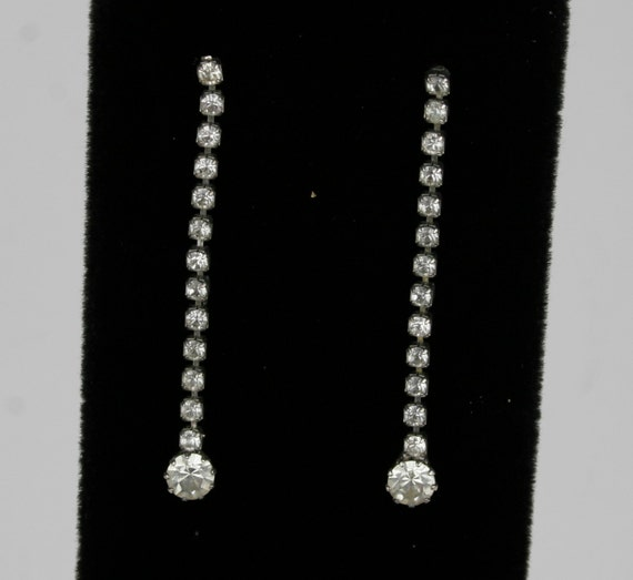 Vintage Pair of Single Strand Drop Rhinestone Earrings- circa 1930's.