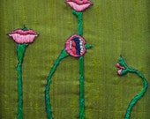 Framed,emerald  green hand embroidery: Sisters,The happiest mouths in the garden