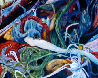 """Small Oil painting of insect-infested yarn:  """"Infestation"""""""
