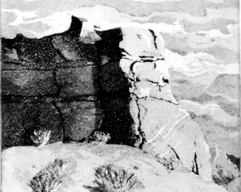 "Original Etching Print Black and White ""Moab"""