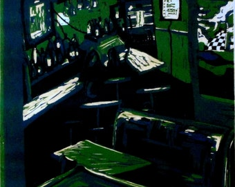Green relief linocut print: The Tavern