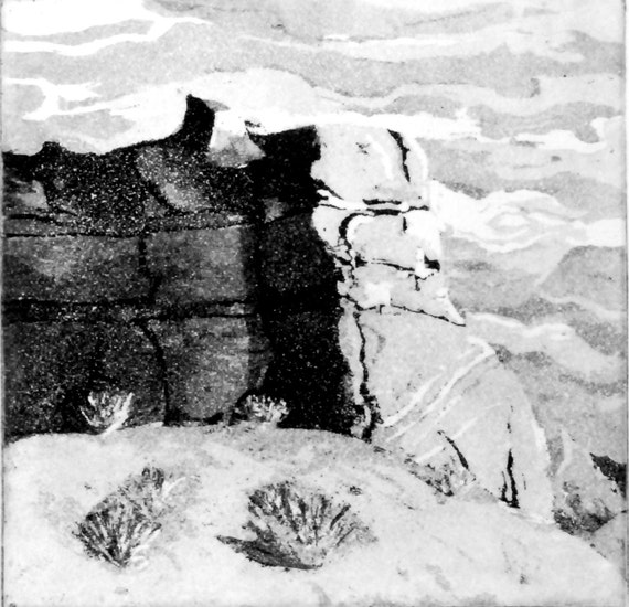 "Original Etching Print Black and White ""Moab"""