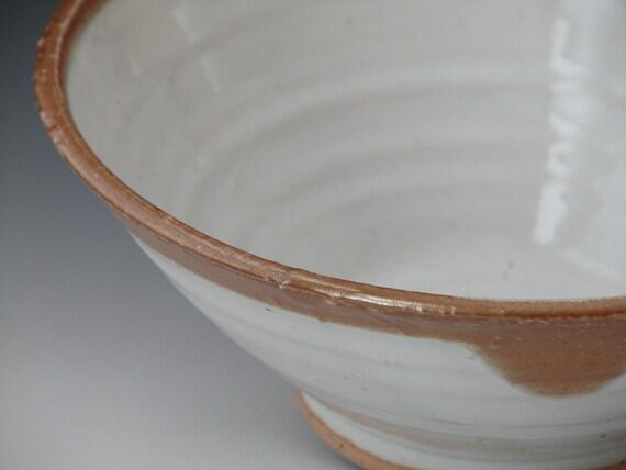 Large Serving Bowl, Salad Bowl,  Snow White and Horse Shino Ceramic Salad Mixing Bowl