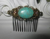 Vintage inspired Turquoise comb  Turquoise hair comb bronze comb Filigree comb Flower Hair Comb Bridal Bridesmaid Special Occasion