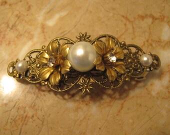 Pearl barrette Flower barrette filigree hair clip ivory pearl barrette bronze barrette hair clip hair accessories bridal barrette hair clip