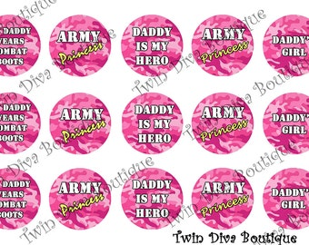 1 inch image sheets for bottle caps - Pink Army Princess military bottle cap images