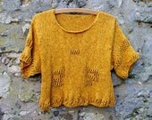 Yellow Knitted Jumper Top  Womans Cotton Sweater Knitwear