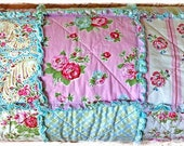 Rag Quilt  - Queen Size - Shabby Delilah and Sugar Hill by Tanya Whelan for Free Spirit Modern Chic Bedding Blue Pink Green