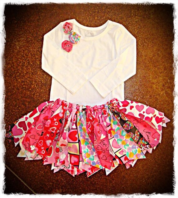 Items similar to rag tutu valentine girls shabby chic skirt and shirt outfit infant toddler on etsy - Shabby chic outfit ideas ...