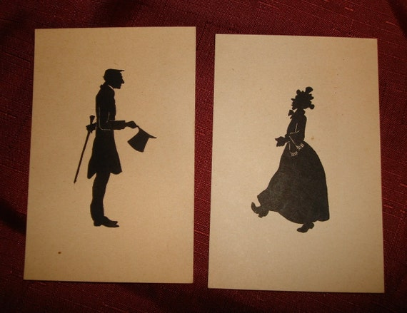 Vintage 1940's SILHOUETTE PAINTINGS - 1800's Colonial Man & Woman - Unframed Art