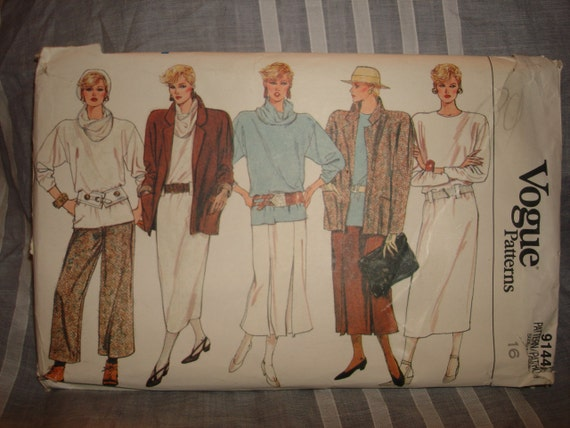 Vintage 1980's Vogue Pattern 9636 - Jacket, Dress, Tunic, Skirt, Pants - Misses 16