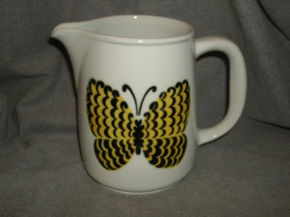 """Reserved for jabba591 - Mid Century Arabia Finland 6"""" Tall Yellow BUTTERFLY PITCHER"""