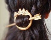 Golden aztec- indian tribal arrow  hair pin shawl pin