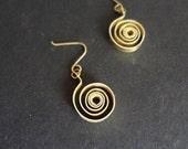 Aztec celtic tribal gothic  brass earrings