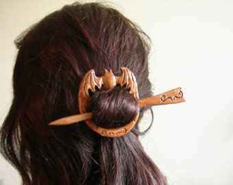 Bat barrette shawl pin hair pin hair stick gothic steampunk antique wood halloween day  of death nightmare before
