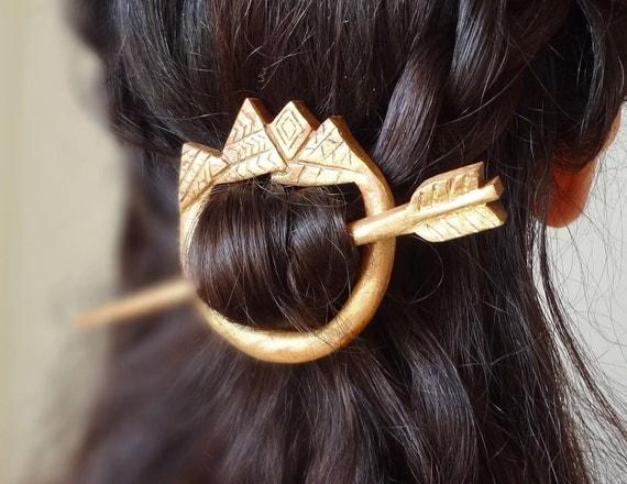 Golden aztec barrette shawl pin tribal arrow hair stick hair pin