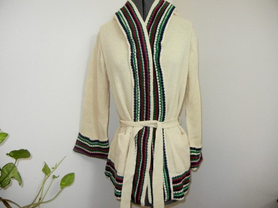 Vintage Cozy 70's Belted Hippie Sweater with Hood & Bell Sleeves