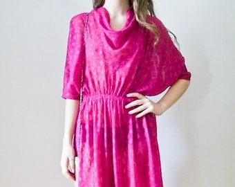 "SALE Vintage 80s ""Fuchsia Dreams"" cowl dress size Small - Medium"