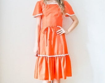 "Vintage 70s ""Orangina Belle"" ruffle dress Size XS-  Small"