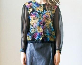 "SALE Vintage 80s ""Midnight Floral"" ombre blouse"