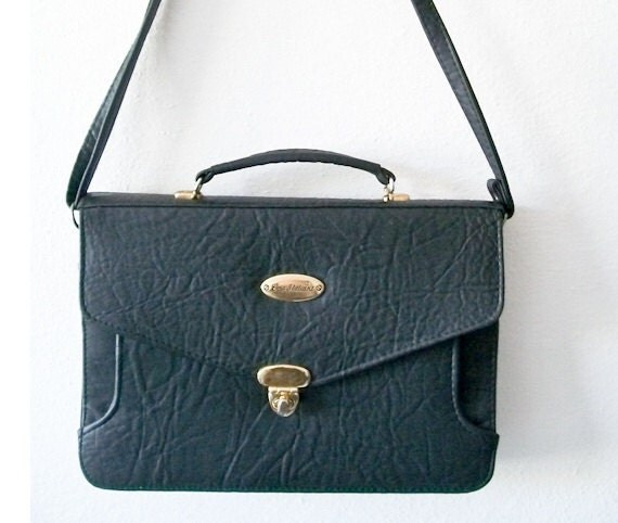 Vintage black vegan leather school girl satchel