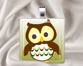 What a whoot brown and green owl glass tile pendant chain included