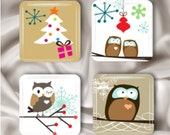 Holiday Owl Glass Magnets Set of 4