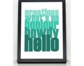 CLEARANCE SAMPLE SALE Bonjour, Hello, Ocean Blue A4 Digital Typographic Artwork