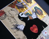 Mixed media collage art - Watcher  - male angel urban art.