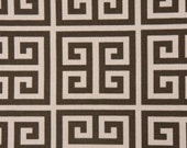 "Two  96"" x 50""  Custom  Curtain Panels -  Brown/Natural - Greek Key Design"