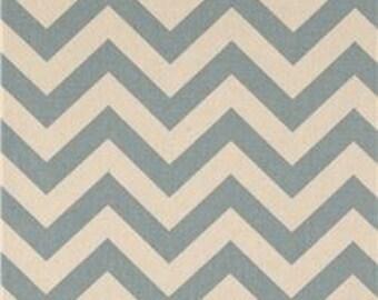 Two 26 x 26 Designer Decorative Pillow Covers Zig Zag Chevron- Village Blue/Natural